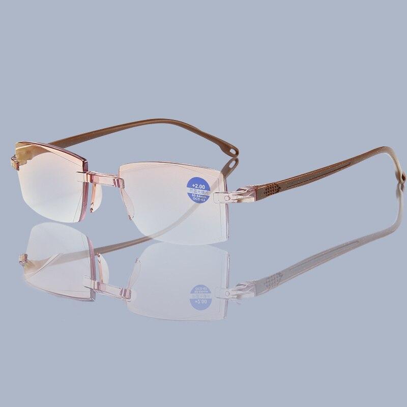 Женские очки для чтения Blue Ray Dimond, очки без оправы, мужские очки с защитой от дальнозоркости, диоптрий + 100 + 150 + 200 + 250 + 300 Женские очки для чтения      АлиЭкспресс