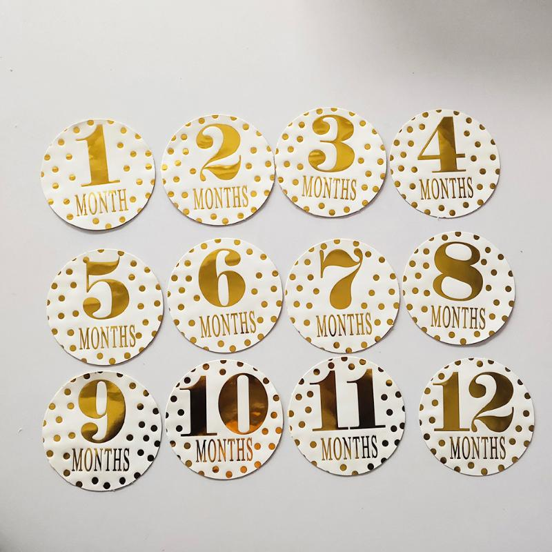 12pcs Newborn Baby Monthly Stickers Pregnant Women 1-12 Month Milestone Memory Photograph Props Kids Commemorative Card