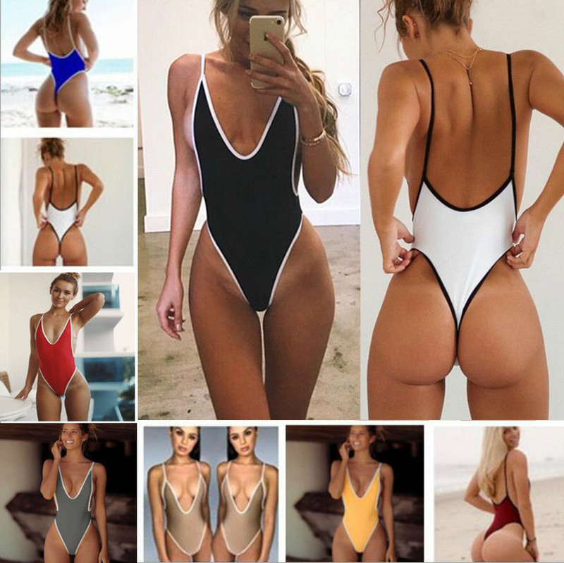 2020  New Bikini  Women Sexy Deep V  Swimsuit  Swimwear Thong Monokini Bathing Suits Beach Wear Swimming Suit For Female
