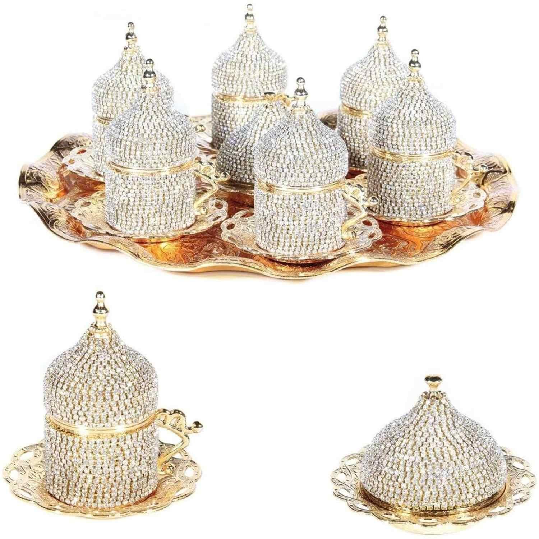 Set di 6 Swarovski Turco Tazze di Caffè Set Made in Turchia Arabo Set Da Caffè Fatto A Mano del Tè Tazze Set Espresso Set di rame set Da Caffè