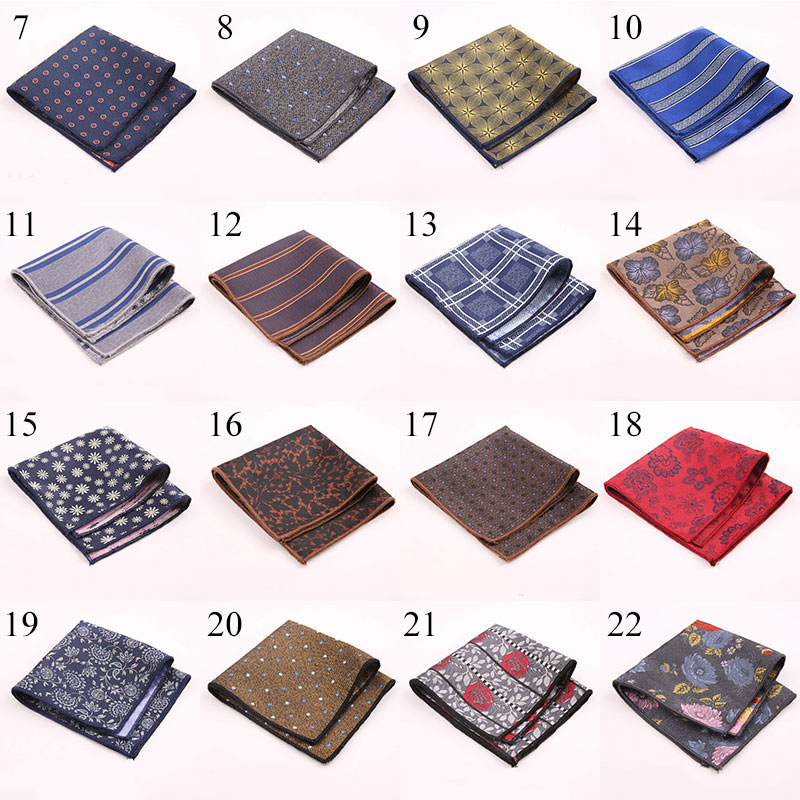 Polka Dot/Striped/Floral Handkerchief Party Wedding Polyester Printed Men's Fashion Pocket Square Towel Business Handkerchief
