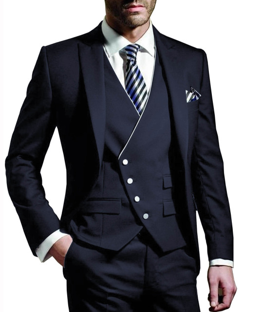 Latest Coat Pant Designs Navy Blue Men Suit 2019 Slim Fit 3 Piece Classic Tuxedo Prom Suits Jacket Custom Groom Blazer Masculino