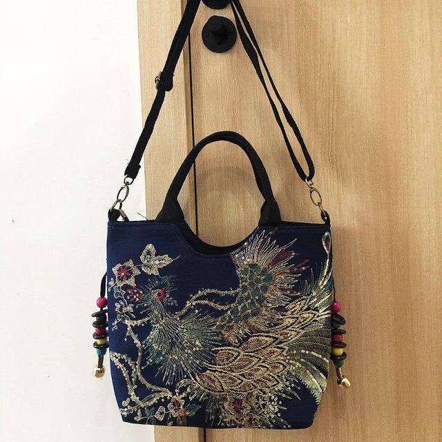 Veowalk Shiny Sequins Peacock Embroidered Women Canvas Totes Bag, Summer Shopping Shoulder Bag Vintage Beaded String Handbag 3