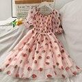 Pailletten Erdbeere Kleid Frauen Gedruckt Hohe Taille Mid-länge Mesh Weibliche Elegante Party Kleid Puff Sleeve Prinzessin Frauen Kleid