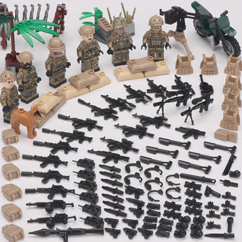 New LegoINGlys Minifigure Alpha Force MILITARY Camouflage Soldier SWAT Army War Building Blocks Brick Mini Figure Toys Gift Boys