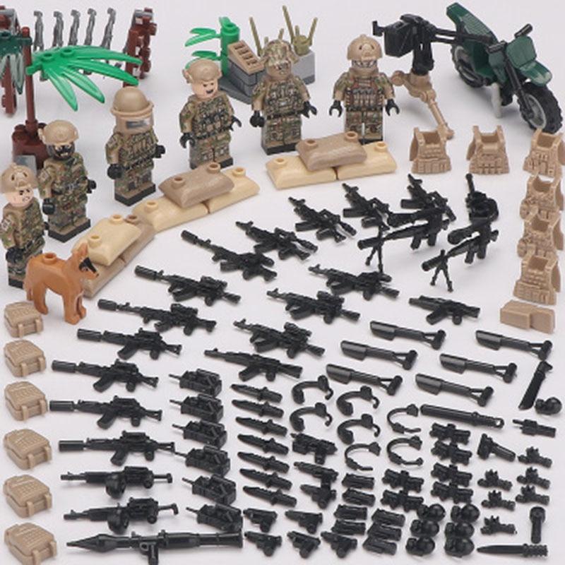 New LegoINGlys Minifigure Alpha Force MILITARY Camouflage Soldier SWAT Army War Building Blocks Brick Mini Figure Toys Gift Boys