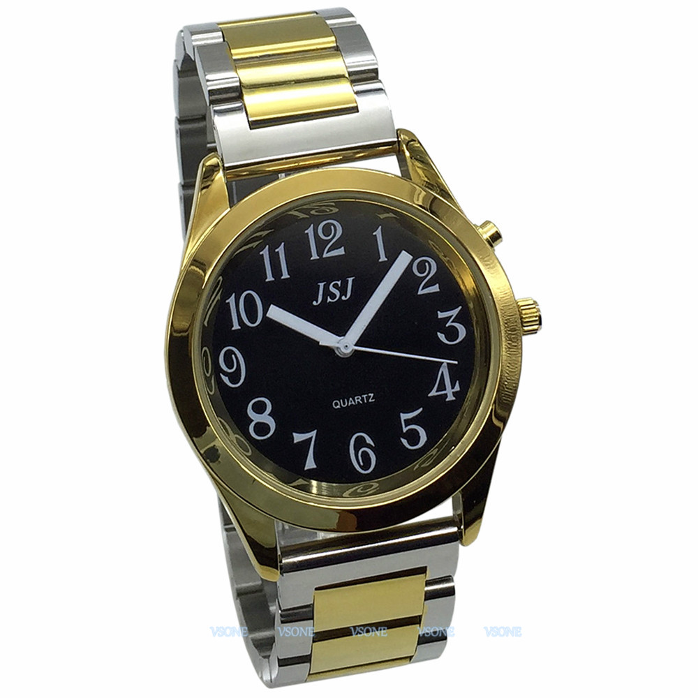 English Talking Watch With Alarm Function, Talking Date And Time, Black Dial, Folding Clasp, Golden Case TAG-805
