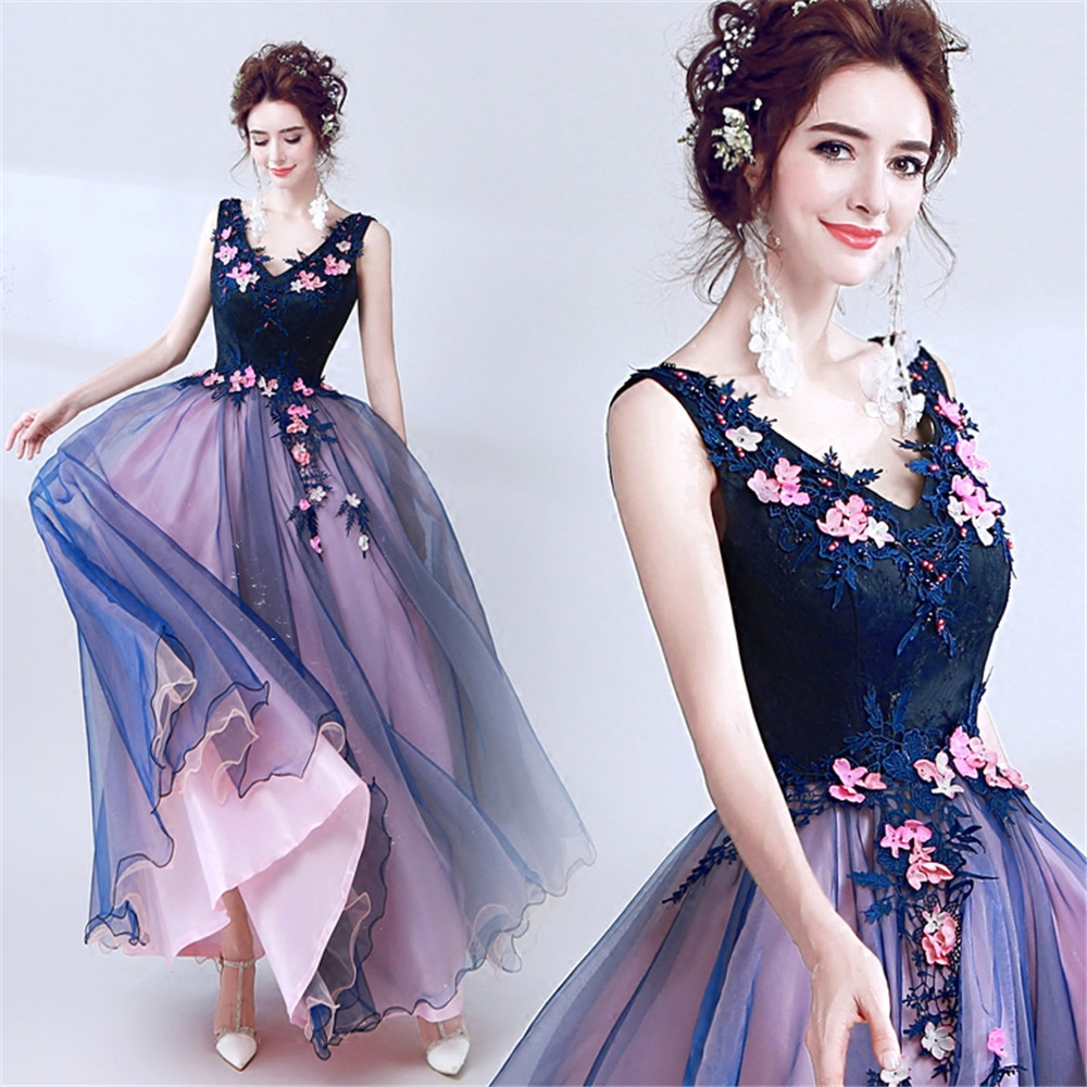 Ladies Deep V-neck Sexy Prom Dresses Beads Lace Occasion Party Evening Ball Gown Applique Flower Perlen Kleid Sleeveless Custom