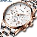 Crrju новые деловые мужские часы лучший бренд класса люкс из нержавеющей стали водонепроницаемый спортивный хронограф кварцевые часы мужски...