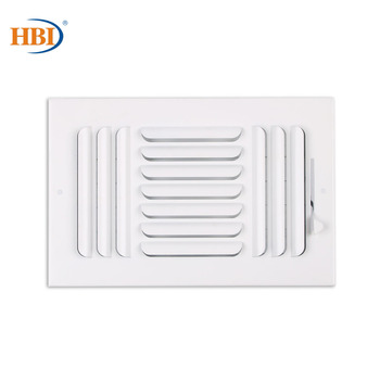 HBI 3-Way W10 x H6 Curved-Blade Ventilation Grille Air Outlet Valve Air Supply Register Air Vent Cover Steel Ceiling/Sidewall curved air curved air airborne cd digisleeve