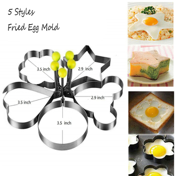 5 Style Stainless Steel Fried Egg Mold Pancake Shaper Omelette Mould Frying Egg Cooking Tools Kitchen Accessories Gadget Ring Ci image