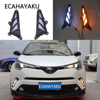 ECAHAYAKU LED DRL Daytime Running Light Car Accessories ABS 12V yellow turn signal light For Toyota CHR C-HR 2017 2018 2019 2020