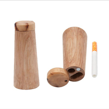 Creative Portable Wooden Cigarette Box Pipe Windproof Cigarette Storage Case Lighter