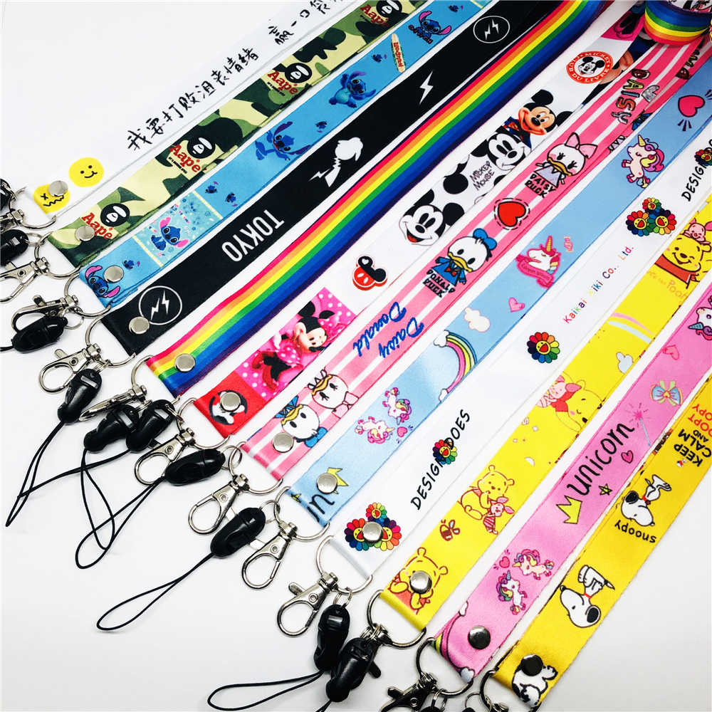 Cartoon Leuke Lanyard Voor Sleutels Lanyard Voor Iphone Samsung Telefoons MP3 USB Flash Drives Toetsen Sleutelhangers ID Naam Tag DIY hang Touw