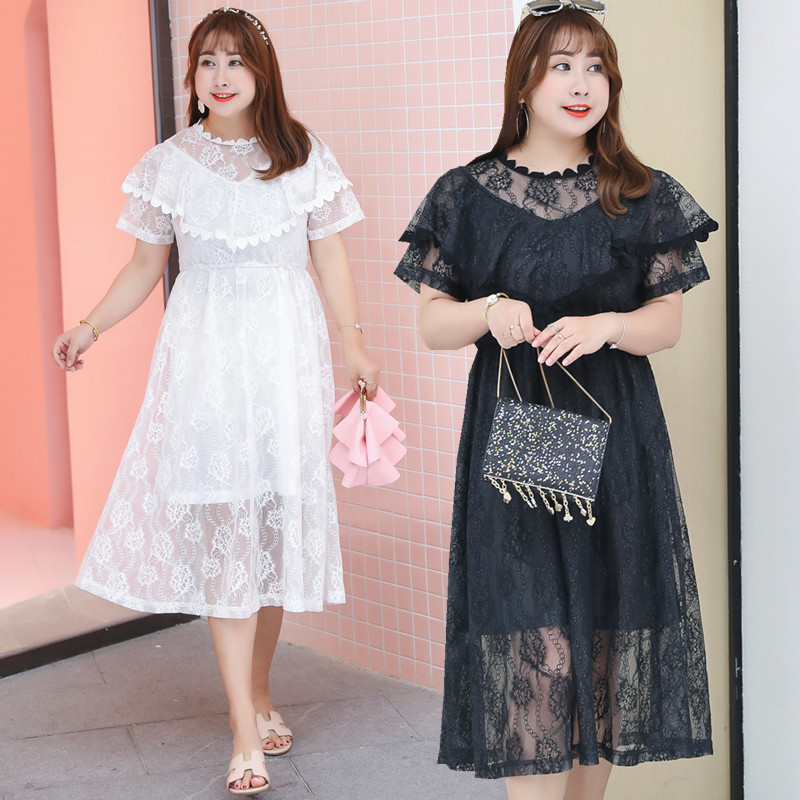 2019 Summer New Style Large Size Dress Lace Full Body Dress Sweet Flounced Skirt Large GIRL'S Clothing 1182