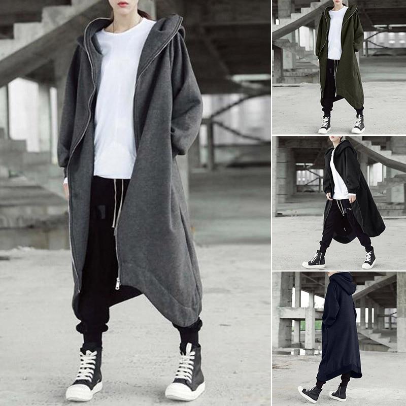 H3856087d226a4da2a0fbdd41e7bbec7e8 2019 ZANZEA Winter Hoodies Sweatshirt Women Hooded Zip Long Sleeve Fleece Irregular Boyfriend Pockets Long Coat Jacket Plus Size