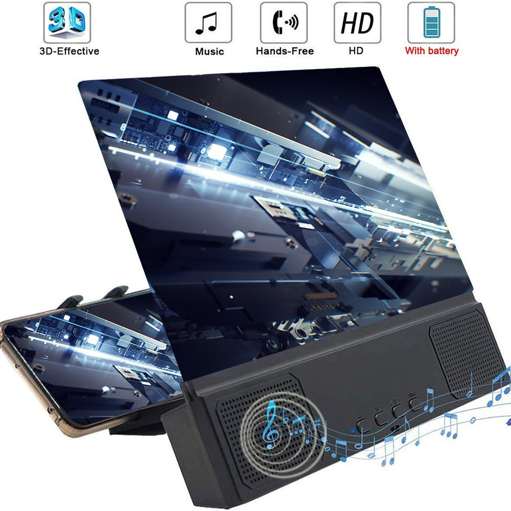 12 Inch 3D Mobile Phone Screen Amplifier Stereo Wireless Connection HD Lens Enlarged Sound Screen Amplifier Universal Bracket