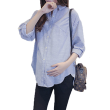 Spring New Maternity Dress Fashion Casual Striped Shirt Long Sleeve Loose Large Size Pregnant Women 2019