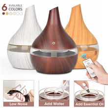 300ML USB humidifier Electric oil Aromatherapy wood grain Ultrasonic air diffuser with 7 colors lights  for home office Car