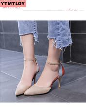High-heeled women's fine with 2019 new summer Korean version of the thin single shoes female shallow mouth sandals women's shoes free shipping stylish and elegant high heeled shoes of fine silk surface shallow mouth pointed diamond pearl word strap sandals