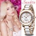 SUNKTA модные женские часы-браслет повседневные керамические кварцевые наручные часы водонепроницаемые часы Relogio Feminino