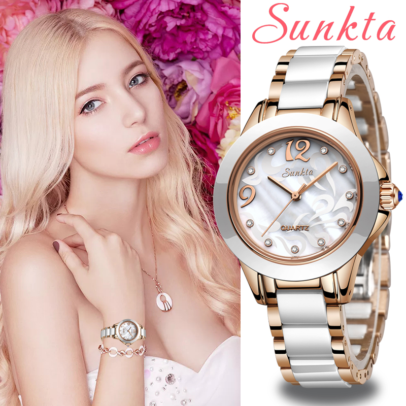 SUNKTA Fashion Women Watches Ladies Bracelet Watch Casual Ceramics Quartz Wristwatches Clock Waterproof Watch Relogio Feminino