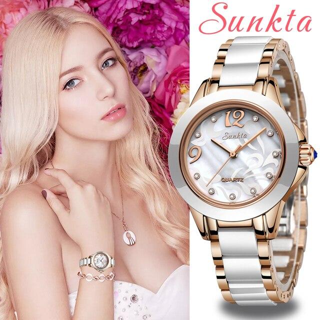 SUNKTA אופנה נשים שעונים גבירותיי צמיד שעון מזדמן קרמיקה קוורץ שעוני יד שעון עמיד למים שעון Relogio Feminino