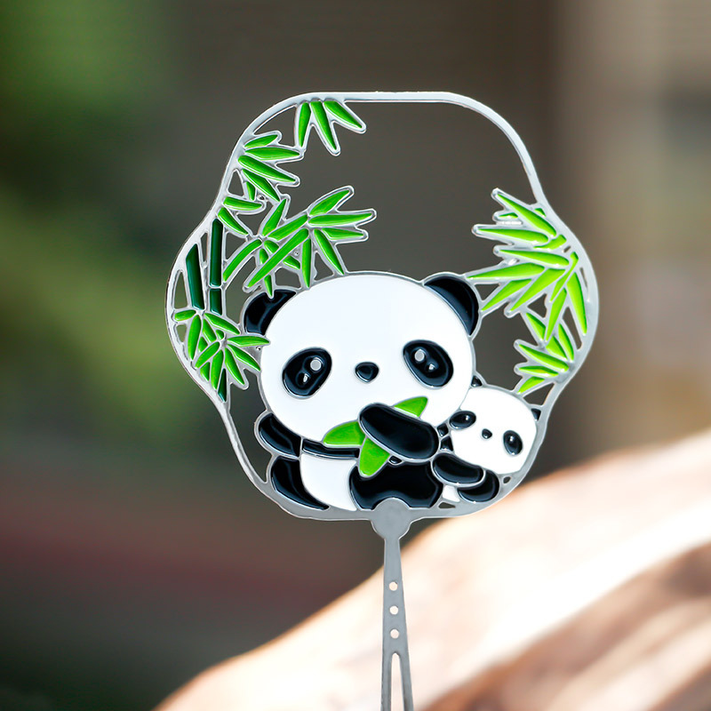 Giant Panda Metal Bookmark Customizable Chinese-style Animal Creative Baking Varnish Delicacy Small Clear Students Bookmark