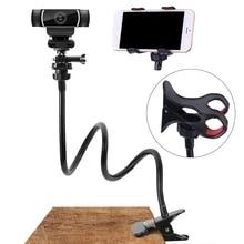 Webcam Stand Adjustable Flexible Desk Mount Gooseneck Clamp Clip Phone Camera Holder For iphone X11 Pro XS Max XR