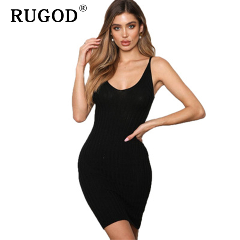 RUGOD 2019 Summer sleeve knitted dress women Vintage V neck spaghetti bodycon sweater dress female Sexy ladies jumpsuit dress in Dresses from Women 39 s Clothing