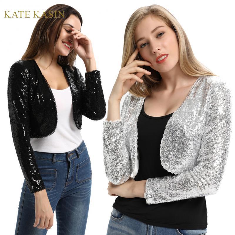 KK Women Long Sleeve Shining Sequined Jacket Top Open Front Glitter Cropped Coat Bolero Shrug Sequin Short Cardigan Coat S-XXL