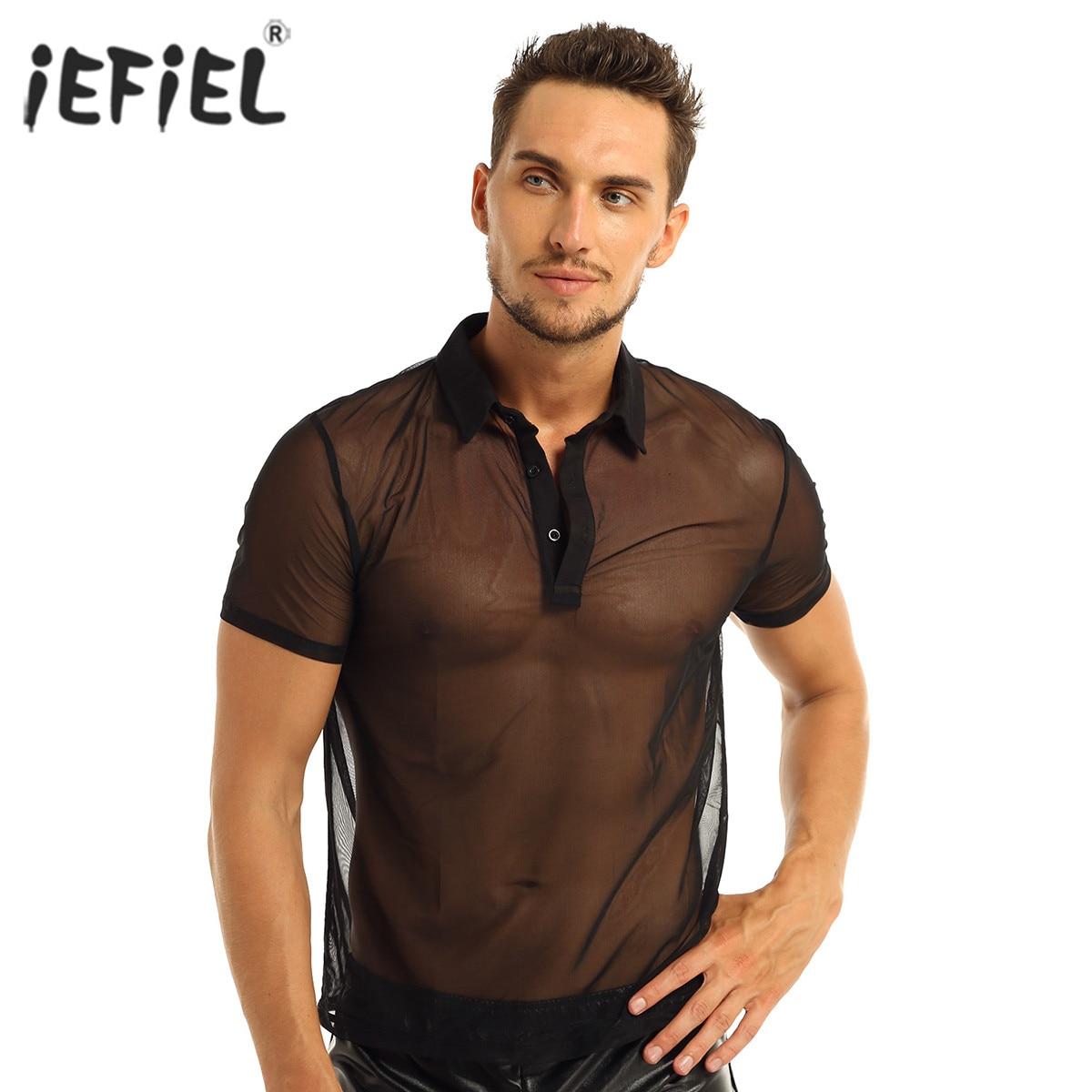 Sexy Men Undershirt See-Through Mesh T-Shirt Tops Fitness Wrestling Singlets Erotic Short Sleeves Turn-down Collar Men Vests