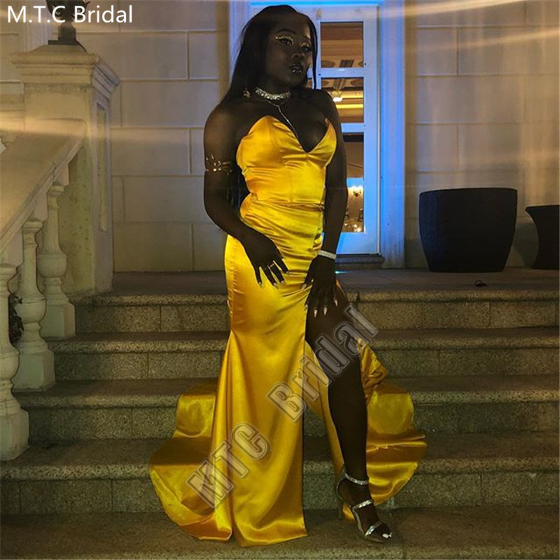 Sexy Gold Mermaid Long African Prom Dresses High Slit Sweetheart Shiny Satin Plus Size Black Girl Wedding Party Gowns Wholesale