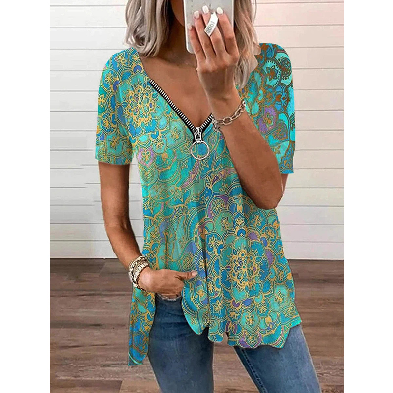 Summer Retro Print V Neck Tshirt Loose Zipper Short Sleeve T-shirt Female Casual Plus Size Shirt Fashion Women's Tops Women Women's Blouses Women's Clothings