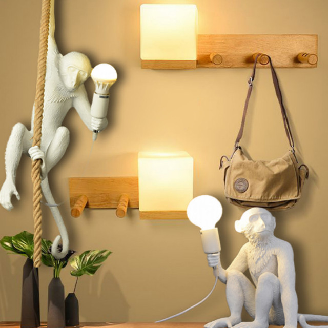 Resin Black White Gold Monkey Lamp Pendant Light for Living Room Lamps Art Parlor Study Room Led Lights Lustre with E27 Led Bulb 1