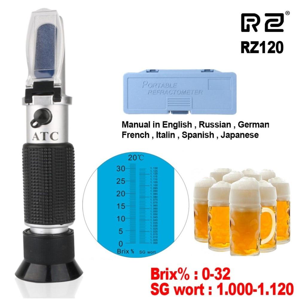 Refratômetro do teste dos espíritos da concentração do hidrômetro da cerveja do refratômetro para a cerveja rz120 wort atc brix 32% para o refratômetro da cerveja