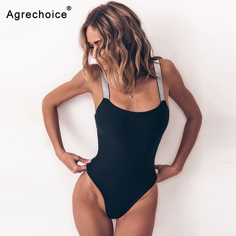 2019 Sexy Flash Straps One Piece Swimsuit Women Bodysuit Swimwear Push Up Monokini Solid Bathing Suits Beach Wear Swimming Suit