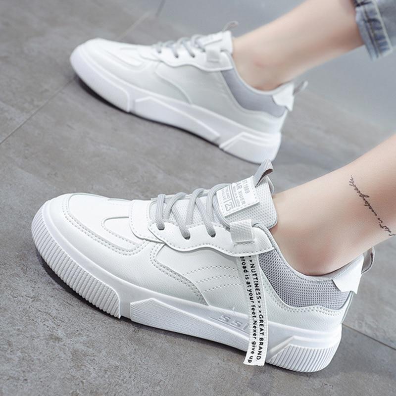 SWQZVT Summer Autumn Sneakers Women Breathable Flat Lace-up Women Vulcanize Shoes White Walking Leather Female Casual Shoes 2020 (27)