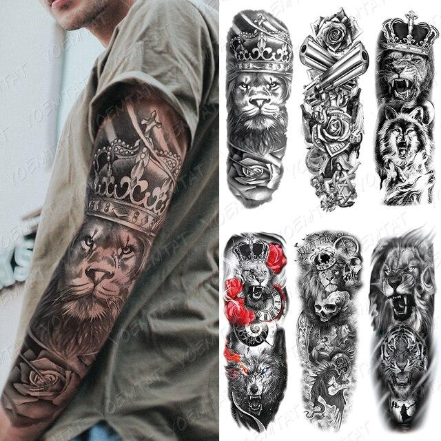 Large Arm Sleeve Tattoo Lion Crown King Rose Waterproof Temporary Tatoo Sticker Wild Wolf Tiger Men Full Skull Totem Tatto