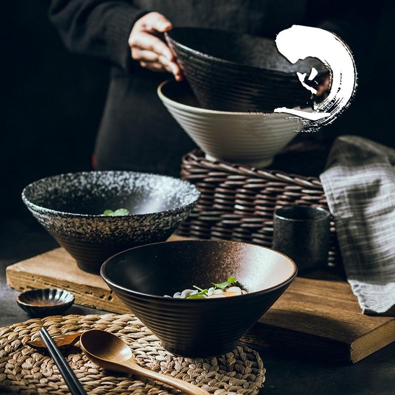 Ensemble de vaisselle créatif japonais, bol en céramique de chapeau en bambou commercial, grand ramen domestique, riz, nouilles, bol à soupe