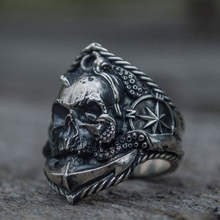 Retro srebrny męska gotycka czaszka Biker pierścienie pirat kotwica kompas pierścień ze stali nierdzewnej mężczyzna biżuteria Punk rockowa rozmiar 8-13 tanie tanio TOGA PULLA STAINLESS STEEL Mężczyźni Metal Klasyczny Koktajl pierścień Szkielet Wszystko kompatybilny TP-007 Brak Moda