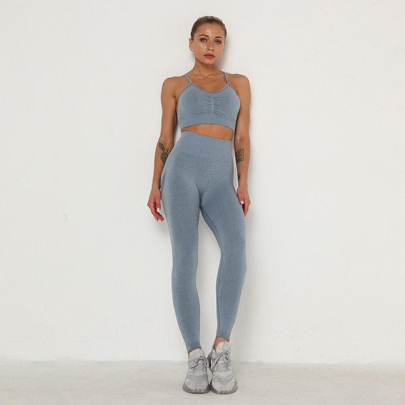 Sem costura conjunto de yoga feminino workout roupas de ginástica de fitness manga longa colheita superior cintura alta leggings + esporte sutiã ternos esportivos 5