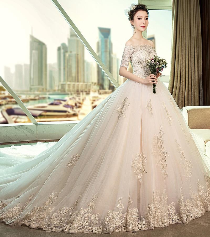 2019 Autumn New Half Sleeves Boat Neck Luxury Train Applique Lace Edge Wedding Dresses robe de mariee Vestido De Novia