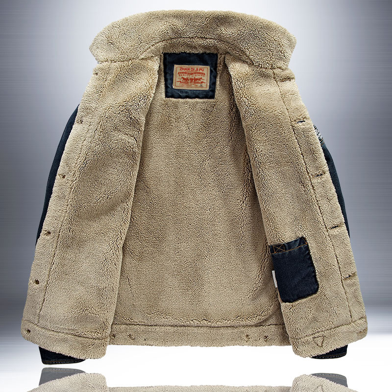 メンズデニムジャケット冬スタイル厚い大サイズフィールドジャケットメンズ AliExpress 着用