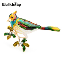 Wuli&baby Green Purple Lark Bird Brooches Women Alloy Animal Enamel Brooch Pins Gifts