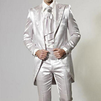 Fashion Shinny Silver Tailcoat Embroidery Groom Tuxedos Men Prom Dresses Dinner Suit Wear Wedding Tuxedos((Jacket+Pants)