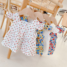 2021 Summer baby girls floral sleeveless blouses toddler kids square neck loose Tops