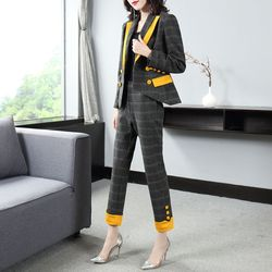 Vogue of new of 2019 autumn winters commuter plaid suit color matching collar suit collect waist feet nine minutes of pants
