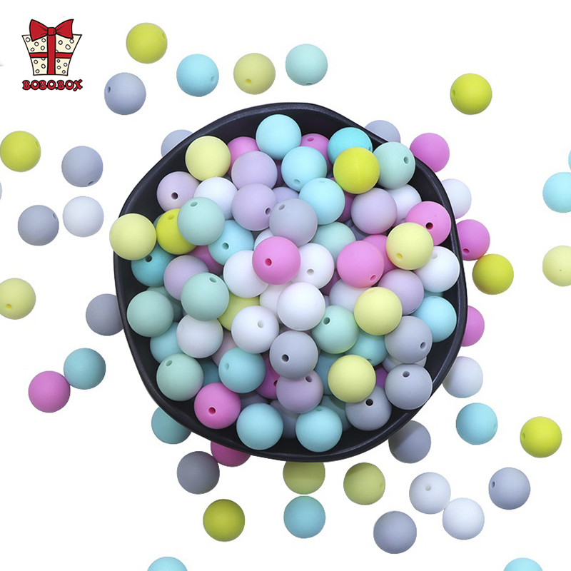 BOBO.BOX 100pcs Silicone Beads BPA Free 9/12/15/19mm Silicone Teething Toys Baby Chewable Teether Beads Pacifier Clips Beads