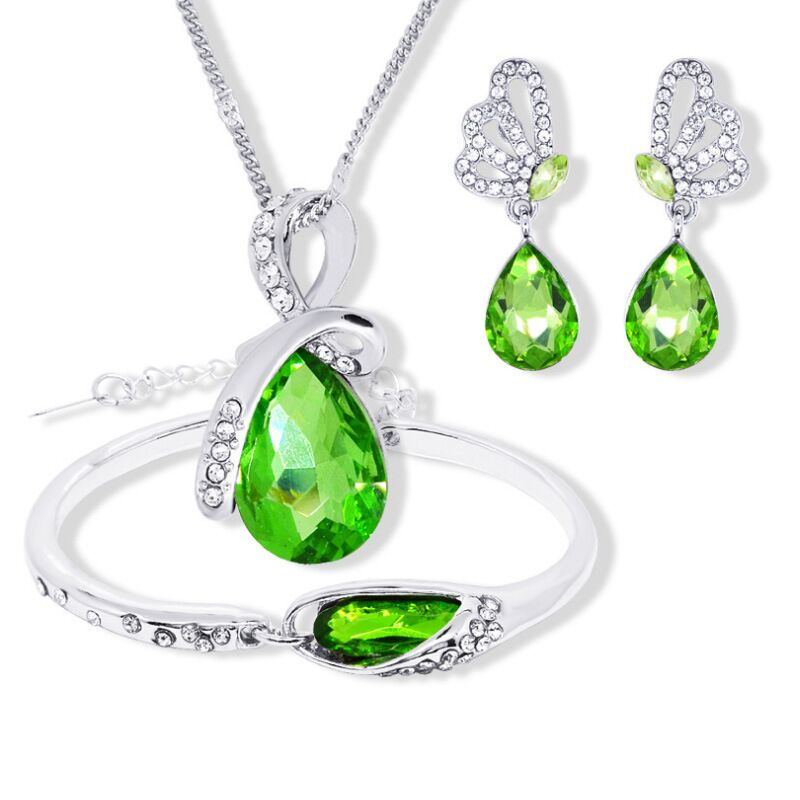 925 sterling silver necklace earrings bracelet, ladies wedding engagement Fine jewelry set water drops green crystal heart